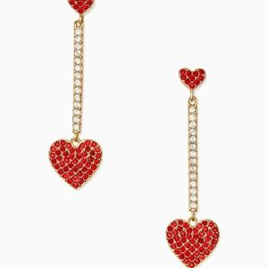 KATE SPADE YOURS TRULY CRYSTAL HEART EARRINGS